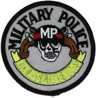 US Military Police MP Kick Ass Take Names Skull Embroidered Patch F1D7D