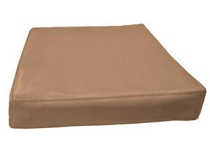 pe225t Tan Faux Leather Classic Pattern 3D Box Seat Cushion Cover Custom Size
