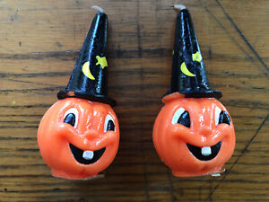 Lot of 2 vtg Gurley Halloween Candles Figures Pumpkin W Witches Hat