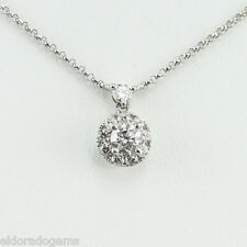 SOLITAIRE 0.90 CT. DIAMOND PENDANT CABLE CHAIN 14K WHITE GOLD NECKLACE 16""