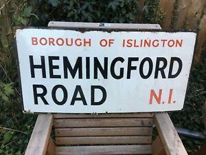 VINTAGE 1930'S PORCELAIN ENAMEL LONDON STREET SIGN HEMINGFORD ROAD N1 ISLINGTON