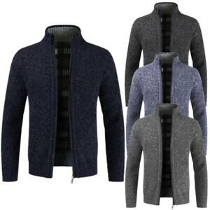New Mens Zip Up Thermal Insulated Fleece Lined Knitted Cardigan Jumper Cardigan