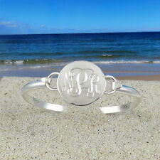 Sterling Silver Monogrammed Bracelet - Bridesmaid - Womens gift