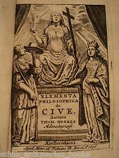 1696 Thomas Hobbes De Cive Political Philosophy Elementa Philosophica Leviathan
