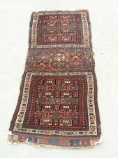 19C Antique Shahsavan South Caucasian Kurdish Rug DoubLe Saddle Bag Face Bagface