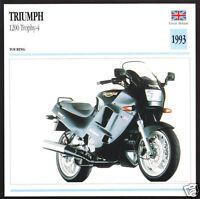 Motorcycle Photo Spec Sheet Info Stat Card 1991 Triumph 900cc Trident 885cc