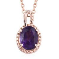 Steel 925 Sterling Silver 14K Rose Gold Plated Amethyst Pendant Necklace 20''