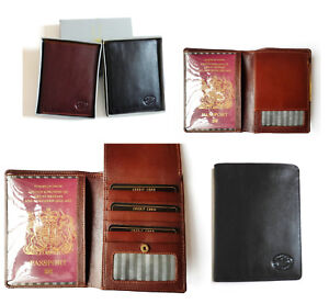 Leather Passport Holder With Wallet Credit Card ID Slots By London Leather Goods