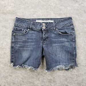 Charlott Russe Womens 4R Denim Raw Low Rise Shorts Jeans Distressed Medium Wash