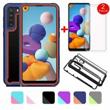 For Samsung Galaxy A21 case Ultra Slim Hybrid Rugged Cover +HD Screen Protector
