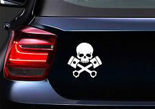 Teschio Pistoni Skull Pistons JDM Sticker Adesivo Auto Moto Laptop Decal Vinile