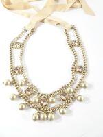 Ann Taylor Loft Crystal Pearl Gold Chain Bib Tie Necklace NWOT 59