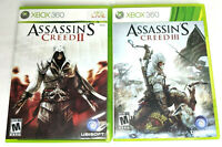 Lot of 2 Xbox 360 Video Games Assassin's Creed 2 & 3 Tested Working