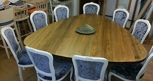 6,7,8,9 seater Large Dining Table, Plectrum Top, Chunky 44mm top, Triple leg.