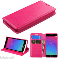 For LG Tribute 2 PINK Tribute Duo Risio Leather Flip Wallet Case Cover Stand
