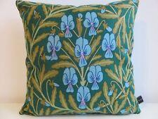 Sanderson Cushion Cover Vintage Shewsbury Flora Linen & Turquoise Velvet Fabric