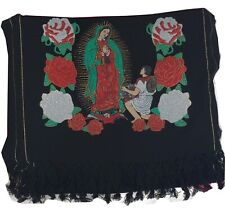 Virgen de Guadalupe Rebozo, Mexican Shawl.(Black)