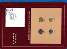Coin Sets of All Nations Guyana w/card UNC 1, 25 Cents 1985 5, 10 cents 1987