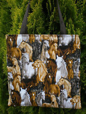 Horse Horses Tote Bag Collage Stampede Fun Lunch or Book Bag Western Wildlife