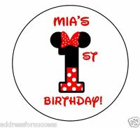 24 Personalized Mouse Girl's Birthday Favor Stickers Party Favors Bags