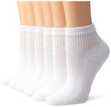 Hanes Women's Cushion Cotton Ankle Socks 6-pair, White, Sock 9-11,Shoe Size 5-9