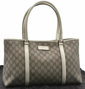Authentic GUCCI Shoulder Tote Bag GG PVC Leather 114595 Brown White E0350