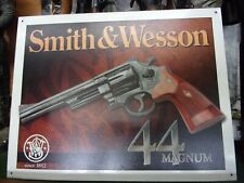 Smith and Wesson 44 Magnum Tin Sign 44 Cal Hand Gun Pistol Ammo Revolver Tin Sig