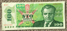 More details for czechoslovakia: 100 korun banknote from 1989 in xf+ condition. a11 806130
