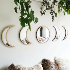 Nordic Style Wooden Decorative Mirror Moon Phase Mirror Bedroom Acrylic  Mirrorl