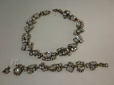 Ann Taylor LOFT Silver Crystal Cluster Link Necklace 54.50 Bracelet NWT $29.50