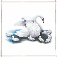 "Pretty Swan Tile Kiln Fired Ceramic Accent Tiles 4.25"" x 4.25"" Bird"