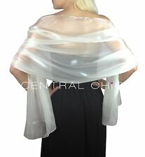 White Silky Bridal Bridesmaid Wedding Prom Shawl Stole Wrap Pashmina