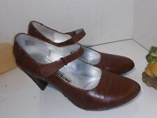 Tsubo Anush mary jane brown leather women's high heels pumps Size 9.5