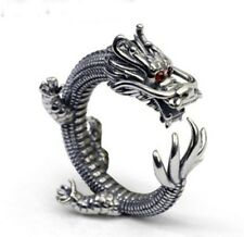 Solid 925 Sterling Silver Vintage Carved men Dragon Wrap Adjustable Ring S1410