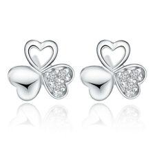 925 silver crystal clover earrings ear stud women lady fashion jewelry