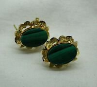 Beautiful Pair Of Large 18ct Gold And Malachite Earrings