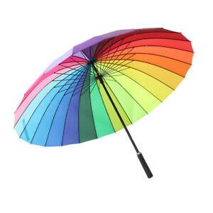 Strong Windproof Long Handle Large Beach Rainbow Sun Rain Umbrella Parasol