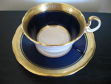 Aynsley Cobalt Blue Heavy Gold Band China Cup & Saucer