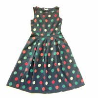 Seasalt Blue Polka Dot A Line Pleated Sleeveless Merthen  Cotton Dress Size 12