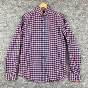 Hugo Boss Mens Button Up Shirt Size M Multicoloured Check Long Sleeve 42.14
