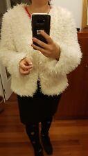 Vila chaqueta pelo blanco L 40 preciosa cazadora jacket Jacke veste giacca Boho