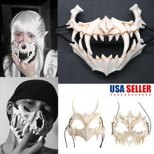 Halloween Japan Demon Samurai Bone Mask Tengu Dragon Yaksa Tiger Resin Cosplay