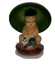 "Vintage Chinese Asian Oriental Japan 4"" Baby Figurine Ceramic Hair Asian Boy Hat"