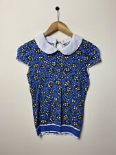 REVIEW Blue Yellow Floral Peter Pan Collar Knit Top Blouse SIZE 8