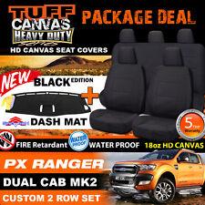 TUFF HD CANVAS FORD PX2 RANGER Seat Covers 2ROWs XLT XL+DASH MAT 6/2015-2018 BLK