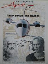 9/1992 PUB PIAGGIO AVANTI P180 AIRCRAFT LEONARDO DA VINCI COLOMBO ORIGINAL AD