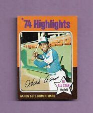 1975 TOPPS HANK AARON HIGHLIGHTS BASEBALL CARD #1 - NEAR MINT CONDITION! BRAVES