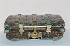 Iron Trunk Brass Lock Trunk Box Storage Old Vintage Antique Collectible BI-47