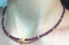 35 cts Genuine Ruby and solid 14k Gold Necklace