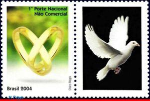 2915 BRAZIL 2004 RINGS, LOVE, DOVE, BIRDS, RHM C-2559, MNH